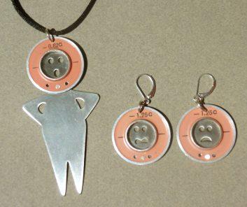 Martian Pendant and Earrings